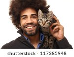 Stock photo man with his cat 117385948