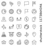 thin line vector icon set  ... | Shutterstock .eps vector #1173864346