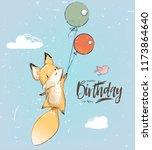 little fox with balloon | Shutterstock .eps vector #1173864640
