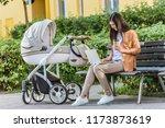 freelancer working with laptop... | Shutterstock . vector #1173873619