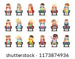 set of cute little kids in 3d... | Shutterstock .eps vector #1173874936