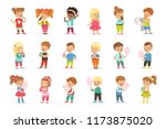set of little boys and girls... | Shutterstock .eps vector #1173875020