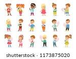 set of little boys and girls... | Shutterstock .eps vector #1173875020