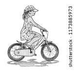 a little girl rides a bicycle | Shutterstock . vector #1173885973