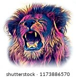 lion art illustration drawing | Shutterstock . vector #1173886570