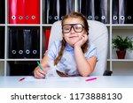 cute little girl wearing... | Shutterstock . vector #1173888130