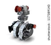 Disassembled motorcycle performance engine isolated on white - stock photo