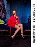 beautiful young woman  wearing... | Shutterstock . vector #1173892243