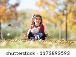 pretty little girl posing in... | Shutterstock . vector #1173893593