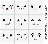 cute animal faces set | Shutterstock .eps vector #117389824
