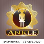 gold shiny badge with girl... | Shutterstock .eps vector #1173916429
