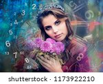 numerology and female thoughts | Shutterstock . vector #1173922210