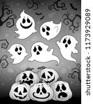 halloween image with ghosts... | Shutterstock .eps vector #1173929089