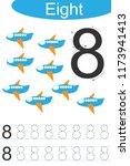 number eight  handwriting... | Shutterstock .eps vector #1173941413