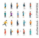 isometric people flat icons  | Shutterstock .eps vector #1173944506