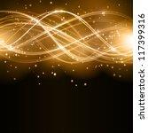 overlaying golden wavy lines... | Shutterstock .eps vector #117399316