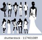 silhouettes fashion girls. | Shutterstock . vector #117401089