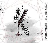 uppercase letter k with... | Shutterstock .eps vector #1174015360