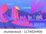 poster with a pink village.... | Shutterstock .eps vector #1174024900