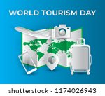 paper world tourism day tourism ... | Shutterstock .eps vector #1174026943