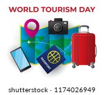 paper world tourism day tourism ... | Shutterstock .eps vector #1174026949