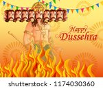 vector design of ravana on... | Shutterstock .eps vector #1174030360