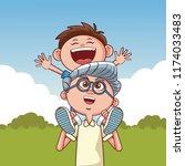 grandparents and kids   Shutterstock .eps vector #1174033483