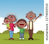 grandparents and kids   Shutterstock .eps vector #1174033510