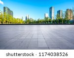 empty square with city skyline... | Shutterstock . vector #1174038526