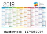 year 2019 colorful calendar  in ... | Shutterstock .eps vector #1174051069