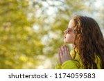 little girl  in glasses and... | Shutterstock . vector #1174059583