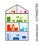 cross section of house. clipart ...   Shutterstock .eps vector #1174060783