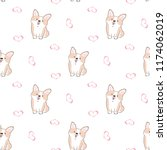 Stock vector seamless pattern of cute cartoon corgi dog and pink heart design on white background 1174062019
