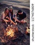 group of friends having fun... | Shutterstock . vector #1174076809