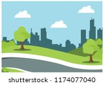 summer on the roadside  vector... | Shutterstock .eps vector #1174077040