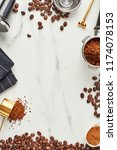 flat lay of coffee background.... | Shutterstock . vector #1174078153