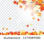 autumn  frame with falling ... | Shutterstock .eps vector #1174089580