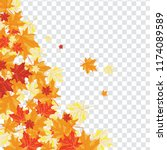 autumn  frame with falling ... | Shutterstock .eps vector #1174089589