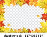 autumn  frame with falling ... | Shutterstock .eps vector #1174089619