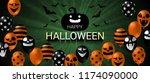 happy halloween banner with...   Shutterstock .eps vector #1174090000