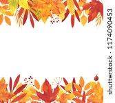 watercolor autumn card template ... | Shutterstock . vector #1174090453