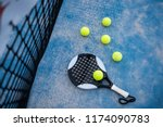 paddle tennis racket and balls ... | Shutterstock . vector #1174090783