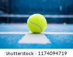 yellow tennis balls in court... | Shutterstock . vector #1174094719
