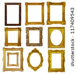 set of few gold picture frames. ... | Shutterstock . vector #117409543