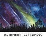 Night Starry Sky With Aurora...