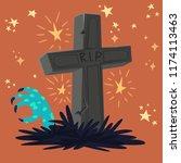 halloween graveyard tomb with... | Shutterstock .eps vector #1174113463
