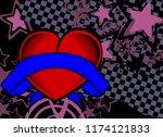 heart tattoo retro style...   Shutterstock .eps vector #1174121833