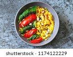 polenta with vegetables.  corn... | Shutterstock . vector #1174122229