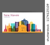 new haven city architecture... | Shutterstock .eps vector #1174125109