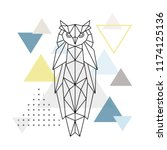 polygonal owl on abstract... | Shutterstock .eps vector #1174125136